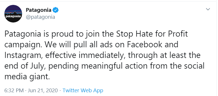 Patagonia tweet announcing Facebook ad boycott, 2020