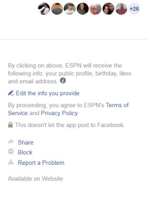 ESPN app permissions