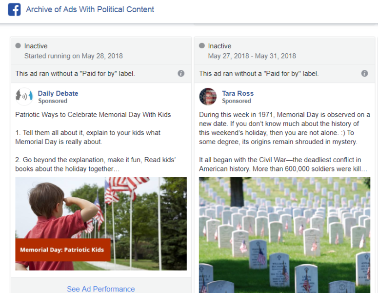 Facebook Political Ad Archive